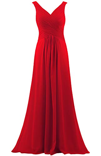 ANTS Women's V Neck Sleeveless Long Bridesmaid Dresses Chiffon Gowns Size 24W US Red