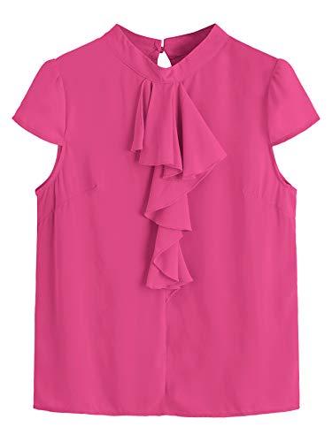 Ruffle Front Cap - Milumia Women's Flounce Ruffle Front Round Neck Cap Sleeve Blouse Tops Fushcia L