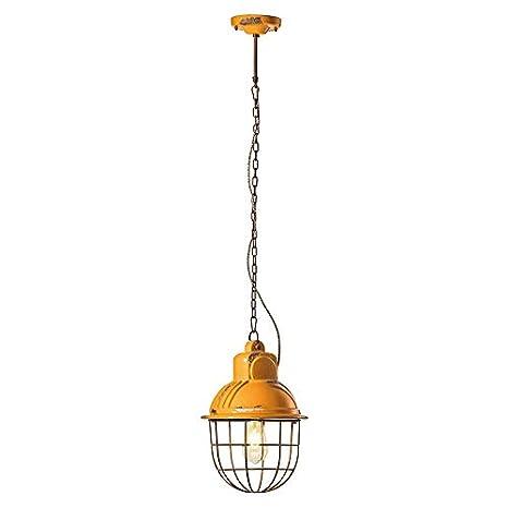 Lámpara colgante con jaula C1770 Industrial 1 luz Vintage Amarillo ...