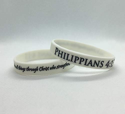 Reminderband - Philippians 4:13 100% Silicone Wristband - Silicone Rubber Bracelet - Christian Religious Events, Gifts, Support, Causes, Fundraisers, Awareness - Men, Women, Kids (Large) ()