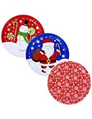 Christmas Holiday Printed Round Tin Christmas Trays, 10 in. - 3 CT -