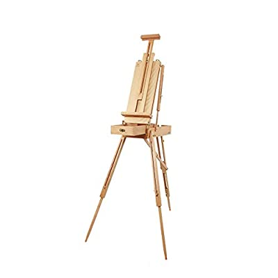ALUS- Outdoor Sketching Easel Brush Paint Storage Oil Painting Frame Wooden Box Portable Tool Box Can Be Folded Back Easy to Carry
