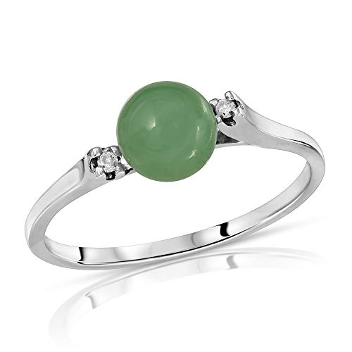 (Regalia by Ulti Ramos 14K Gold Genuine Jade and .02cts Diamond Ring (White Gold))