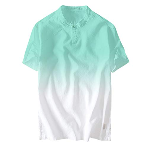 (POQOQ Summer Men's Cool and Thin Collar Hanging Dyed Gradient Cotton Shirt(Green,M))