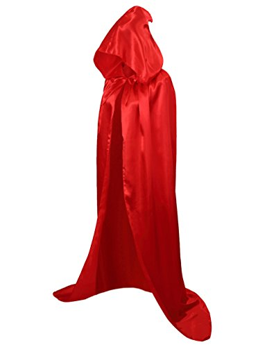 (Colorful House Unisex Full Length Hooded Cape Costume Cloak (Red,)