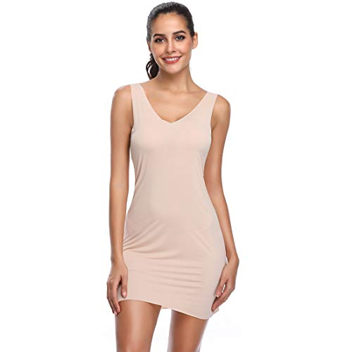 Full Slips for Under Dresses Adjustable Strap Camisole for Women Long Cami Tank Tops (Nude-1, - Slip Nylon Camisole