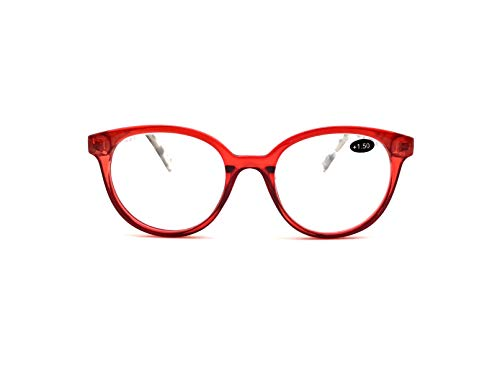 EyeSquared Deluxe Reading Glasses - For Men And Women, Comfortable Stylish Simple Readers With Spring Hinges (Red, 1.5)