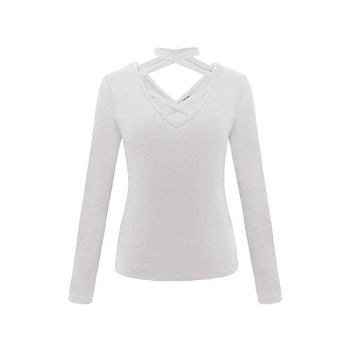 Moda Dragon868 Maniche Bianco Incrociate Fit In Fascia Sexy Camicie Lunghe Camicie Donna Top Slim qCrPwFq