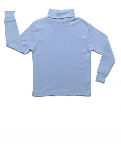 Leveret Solid Turtleneck 100% Cotton (13-14 Years, Light Blue)