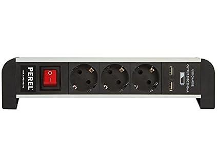 Perel ebp0 3dsu de G regleta de 3 enchufes mesa con 2 USB Port ...
