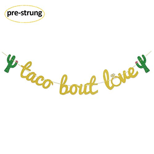 (Finseng Taco Bout Love Gold Glitter Banner Sign Garland for Mexican Fiesta Themed Bridal Shower Bachelorette Party Wedding)
