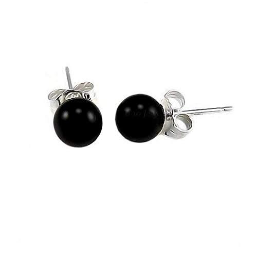 Simple Gemstone Black Onyx Round Ball Stud Earrings For Women 925 Sterling Silver 6MM