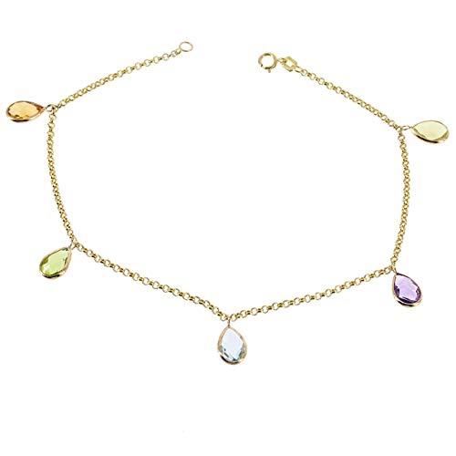 14K Yellow Gold Gemstone Bracelet With Hanging Gemstones 7-8.5 Inches