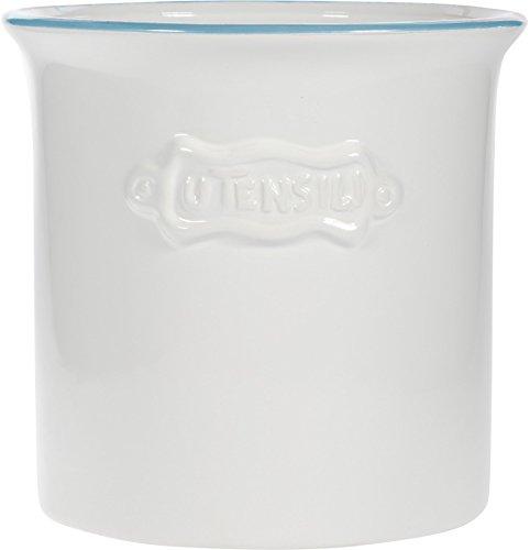 Vintage Ceramic Utensil Container- Utensil Crock With Embossed (Embossed Crock)