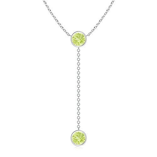 - Bezel-Set Round Peridot Lariat Style Necklace in Platinum (7mm Peridot)