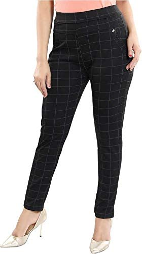 Secret Trendz Women/Girls/Ladies Hosiery Cotton Slim Fit Stretchable Trouser/Check Pant/Jeggings for Formals/Casual & Office High Waist Ankel Length Free Size-(28-32 Waist Size)