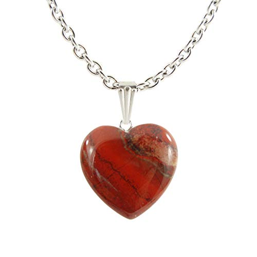 """(Steampunkers USA Chained Big Heart Collection - 20mm Classic Red Jasper Striped – 22"""" Stainless Steel 3mm Chain – Stainless Steel Bail – Natural Crystal Gemstone Carved Necklace Charm)"""