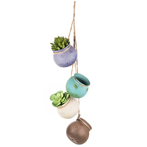 MyGift 4-Pot Hanging Rustic Pastel Ceramic Planter Set, Mini Multi-Color Succulent Pots with Jute Rope