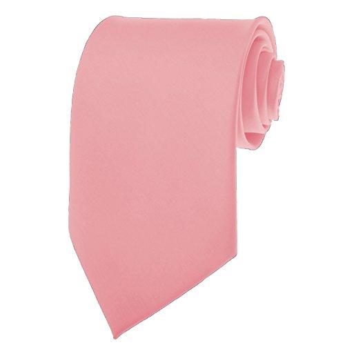 [BRAND NEW Mens Necktie SOLID Satin Neck Tie Coral Pink 15] (Satin Mens Necktie)