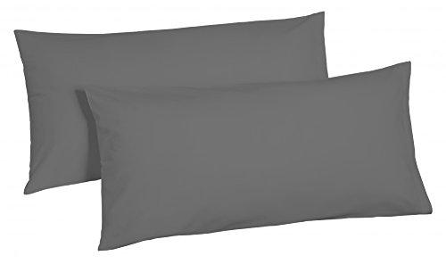 2 tlg. Biber 100% Baumwolle Winter Bettwäsche ,135x200 + 80x80 in UNI mit Reißverschuss Winterbettwäsche Dreamhome24 40x80 Kissenbezug, Variante:GRAU 40x80