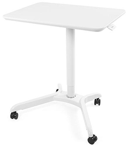 VIVO White Rolling Sit Stand Mobile Trolley Presentation Cart Ergonomic  Workstation Monitor Riser   Tension Spring Height Adjustable Desk 28u201d  (CART V000HW)