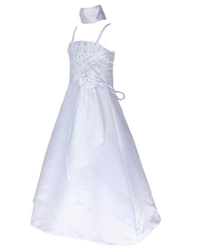 Satin Occasion Pageant Wedding Bridesmaids Girls Dress White 8 Years (W6001-8#)