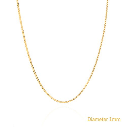 [Best Box Chain 1MM Fashion Jewelry Necklaces, Real 24K Gold on Semi-Precious Metals, Tarnish Resistant, Made Thin For Pendants, 100% FREE LIFETIME REPLACEMENT GUARANTEE, Sturdy, 18] (Hip Hop Group Costumes)