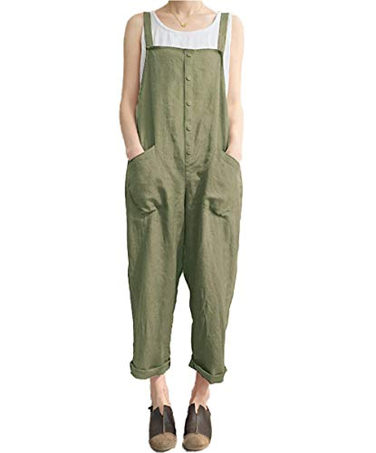 Women's Casual Jumpsuits Overalls Baggy Bib Pants Plus Size Wide Leg Rompers (Y-Green, XL)