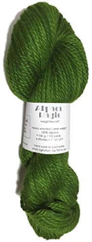 (Hand Dyed Baby Alpaca Yarn, Kettle Dyed: Avocado, Heavy Worsted Weight, 100 Grams, 102 Yards, 100% Baby Alpaca)