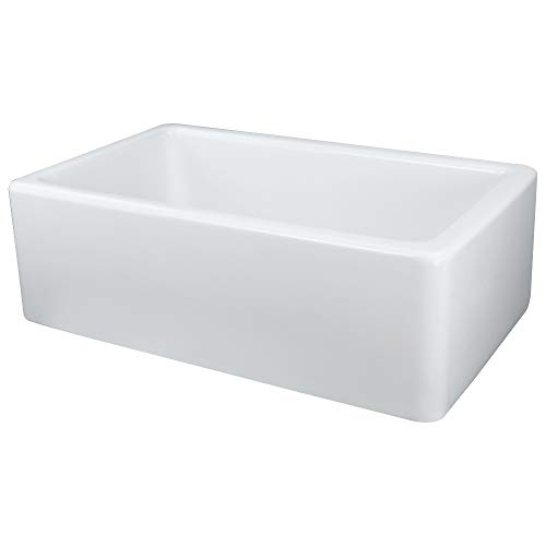 - Transolid FUSS301810 Porter Fireclay Undermount Reversible Plain Super Single Bowl Farmhouse Kitchen Sink, 30