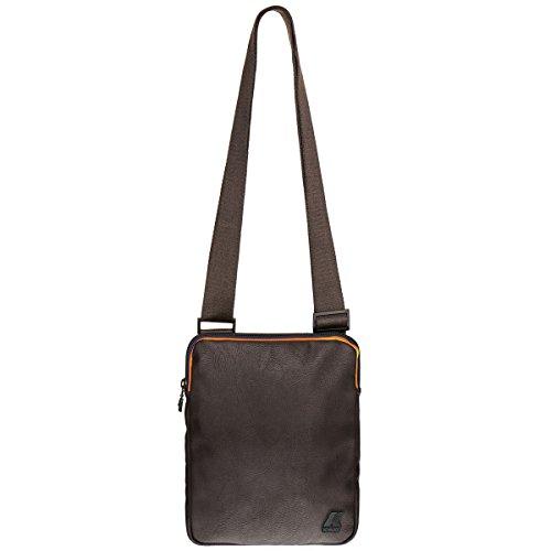 Borsa Borsello Uomo Tracolla K-Way Bag Men k-Pocket Plus Flat Crossover K1C08-COFFEE BLACK