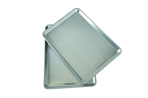 Nordic Ware Natural Aluminum Commercial Baker's Half Sheet (2 Pack), - Bottom Encapsulated