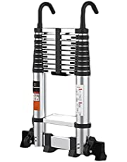 Telescoping Telescopic Extension Ladder, 18ft Aluminum Alloy Light-Weight Extension Ladder, Suitable for Home, Attic Electrician Straight Staircase Ladders