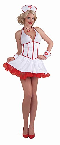 Care Adult Intensive Costumes (Forum Novelties Women's Intensive Care Nurse Costume, White/Red,)