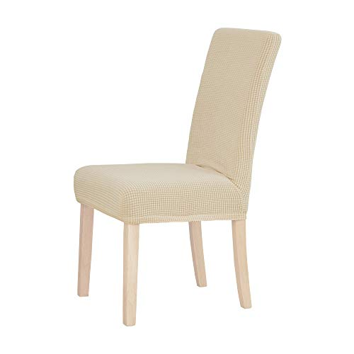 Deconovo Modern Stretch Chair Covers Washable Removable Chair Slipcover for Dining Room Set of 2, Beige