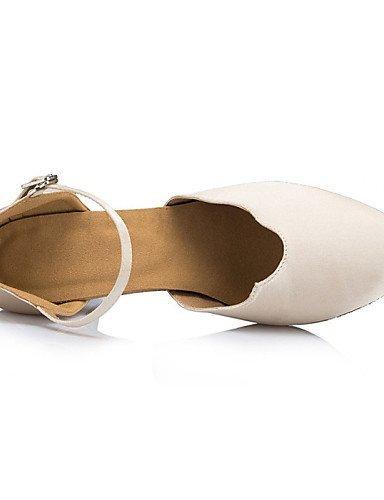 ShangYi Schuh Keine Maßfertigung möglich - Kubanischer Absatz - Beflockung - Lateintanz / Salsa - Damen Beige