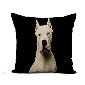 Awowee Flax Throw Pillow Cover Pet Portrait of Purebred Dogo Argentino Dog Studio Adorable 20x20 Inches Pillowcase Home Decor Square Cotton Linen Pillow Case Cushion Cover 1
