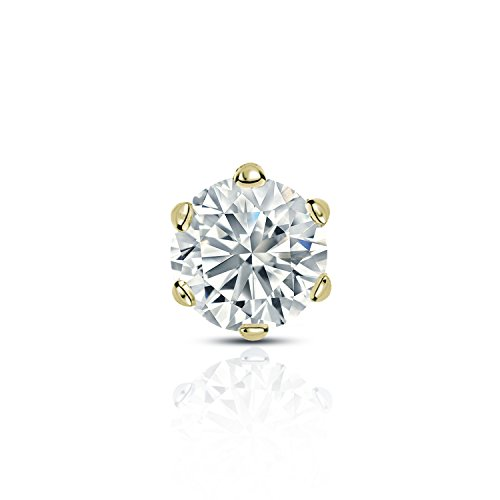 14k Yellow Gold 6-Prong Basket Round Diamond SINGLE STUD Earring (1/2 ct, O. White, I1-I2) by Diamond Wish