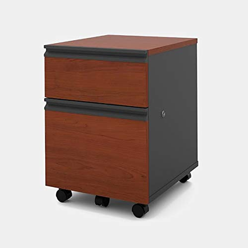 Wood Mobile Filing Cabinet - Filing Cabinet with 2 Locking Drawers - Bordeaux and Graphite
