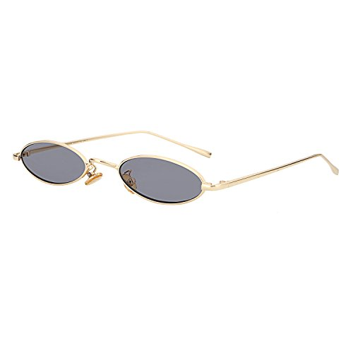 ROYAL GIRL Vintage Oval Sunglasses For Women Men Unisex Fashion Small Metal Frames Shades - Lense Flat Sunglasses Oval