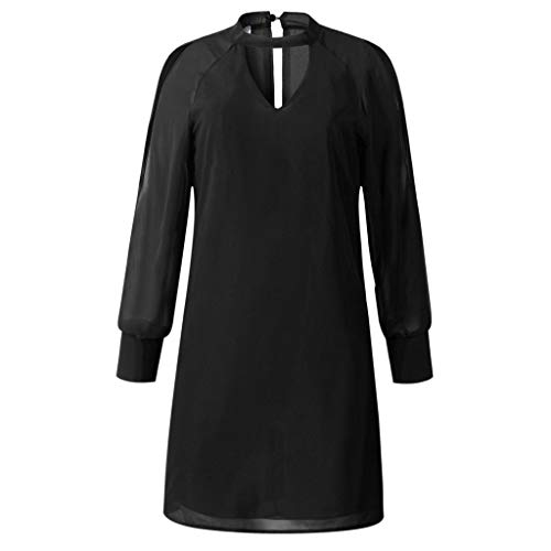 Hawkimin Vestito Nero dress Lunga Donna Manica UrnZUSwq