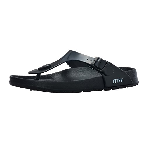 Toe Post Flip-Flop Summer Holiday Indoor/Outdoor Gym Shower Garden Anti-Slip Pool Thong Beach Sandals (US 7, EU 38, UK 5, Black, S) (Eva Foam Flip Flops)