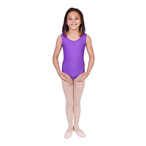 Big Girls Purple Solid Color Full Front Lining Tank Dancewear Leotard 14
