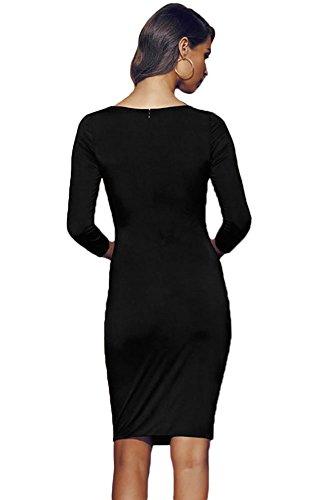 Señoras negro manga larga abierta frontal de encaje vestido Club Wear fiesta trabajo desgaste tamaño S UK 8–�?0EU 36–�?8