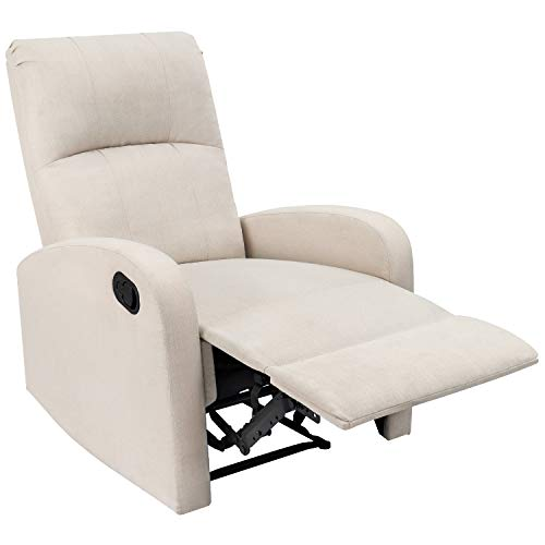 JUMMICO Fabric Recliner Chair Adjustable Home Theater Single Recliner Sofa Furniture with Thick Seat Cushion and Backrest Modern Living Room Recliners (White)