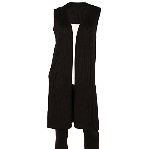 SIONI Women's 'Fine Gauge' Sweater Trendy Sleeveless Long Vest With Side Slits,Black,Medium (Black Long Vest)
