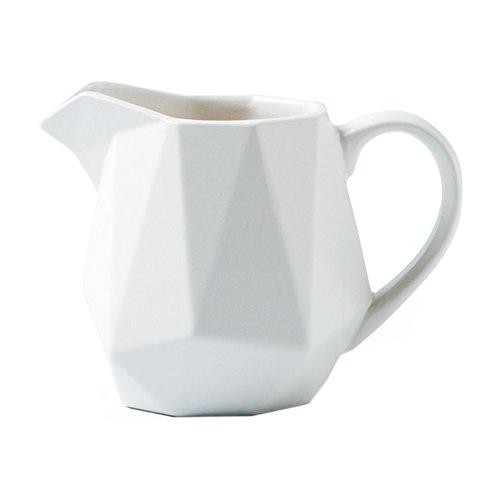 (Ceramic Rhombus Coffee Milk Tea Creamer Mug Porcelain Pure Color Geometric Shaped Juice Honey Jug Sauce Pitcher Syrup Dressing Server Cup with Handle Home Decor Gift(Green,White,Blue,Grey,Pink))