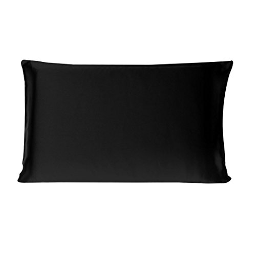 uxcell 100% Pure Mulberry Charmeuse Silk Pillowcase Pillow Case Cover for Hair & Skin Beauty 19 Momme Queen Size 20x30 Inch/51x76cm Black (1-Piece)