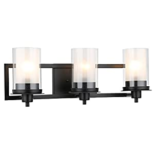 Designers Impressions Juno Matte Black 3 Light Wall Sconce/Bathroom Fixture with Clear and Frosted Glass: 73484