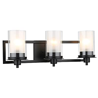 "Designers Impressions Juno Matte Black 3 Light Wall Sconce/Bathroom Fixture with Clear and Frosted Glass: 73484 - Finish: Matte Black --- Glass: Clear and Frosted Height: 8-1/4"" ---- Width: 22"" Bulb Requirements (Not Included): (3) Three Medium Base 60 Watt - bathroom-lights, bathroom-fixtures-hardware, bathroom - 31p7 VrZzXL. SS400  -"